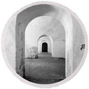 El Morro Fort Barracks Arched Doorways Vertical San Juan Puerto Rico Prints Black And White Round Beach Towel