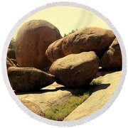 Elaphant Rocks 4 Round Beach Towel