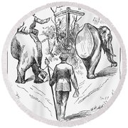 Election Cartoon, 1884 Round Beach Towel
