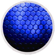 Electric Blue Circle Bumps Round Beach Towel