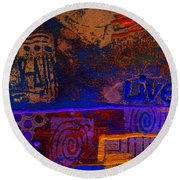 Electric Blue Patterns Round Beach Towel