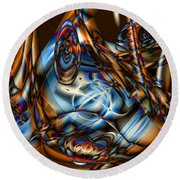 Electric Blue Round Beach Towel by Ron Bissett