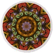 Electric Mandala 2 Round Beach Towel