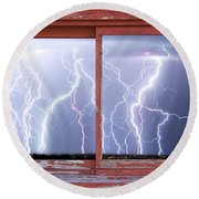 Electric Skies Red Barn Picture Window Frame Photo Art  Round Beach Towel