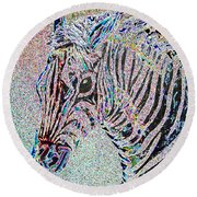Electric Zebra Round Beach Towel