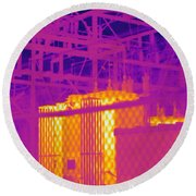 Electrical Substation Round Beach Towel