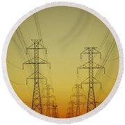 Electricity Pylons Round Beach Towel