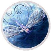 Electrified Dragonfly Round Beach Towel