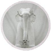 Elephant Sculpture Round Beach Towel