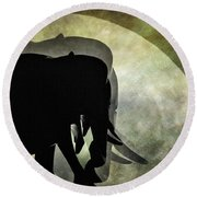 Elephants On Moonlight Walk 2 Round Beach Towel