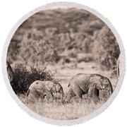 Elephants Walking In A Row Samburu Kenya Round Beach Towel