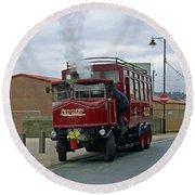 Elizabeth - Steam Bus At Whitby Round Beach Towel