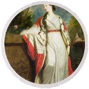 Elizabeth Gunning - Duchess Of Hamilton And Duchess Of Argyll Round Beach Towel by Sir Joshua Reynolds