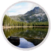 Elkhorn Mountain Reflection Round Beach Towel