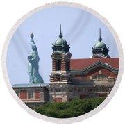 Ellis Island And Statue Of Liberty Round Beach Towel