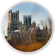 Ely Cathedral Scenic Round Beach Towel