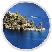Emerald Bay Lake Tahoe Round Beach Towel