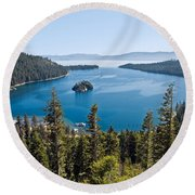 Emerald Bay Morning Round Beach Towel
