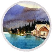 Emerald Lake Lodge B.c Round Beach Towel
