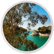 Emerald Lake With Duke House I. El Chorro. Spain Round Beach Towel