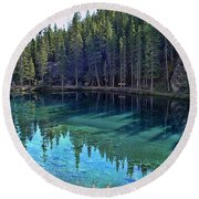 Emerald Mountain Pond Round Beach Towel