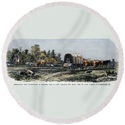 Emigrants To Ohio, 1805 Round Beach Towel
