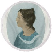 Emily Bronte, English Author Round Beach Towel