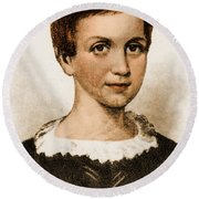 Emily Dickinson, American Poet Round Beach Towel by Photo Researchers
