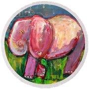 Emily's Elephant 3 Round Beach Towel