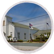 Emma Anderson Memorial Chapel Round Beach Towel