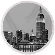 Empire State Bw Round Beach Towel