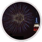 Empire State Fireworks Round Beach Towel