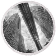 Empire State Reflection Round Beach Towel