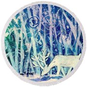 Enchanted Winter Forest Round Beach Towel