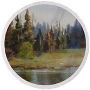 End Of The Lagoon Round Beach Towel