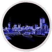Energetic Atlanta Skyline - Digital Art Round Beach Towel