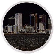 Energized Tampa - Digital Art Round Beach Towel