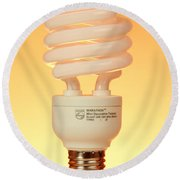 Energy Saving Light Bulb Round Beach Towel