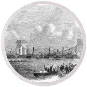 England: Boat Race, 1858 Round Beach Towel
