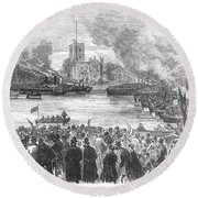England: Boat Race, 1869 Round Beach Towel