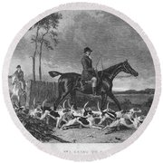 England: Fox Hunt, 1832 Round Beach Towel