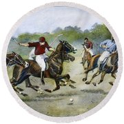 England: Polo, 1902 Round Beach Towel