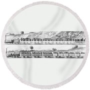 England: Railroad Travel Round Beach Towel