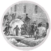 England: Winter, 1855 Round Beach Towel