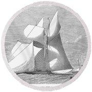 England: Yacht Race, 1868 Round Beach Towel