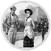 English Couple, 1883 Round Beach Towel