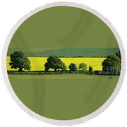 English Field Of Yellow 2 Round Beach Towel