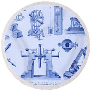 Engraving Of Historical Astronomy Round Beach Towel