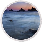 Engulfed By The Tides Round Beach Towel