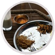 Enjoying A Plate Of Rajasthani Food On A Steel Plate On A Bamboo Table Round Beach Towel